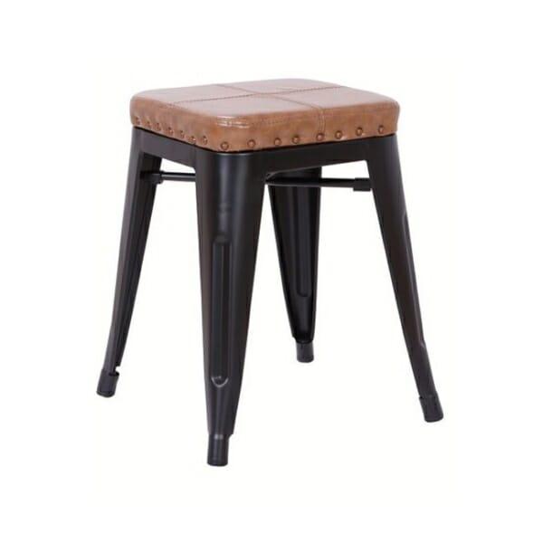 Метална табуретка със седалка от еко кожа Роко - вариант 1