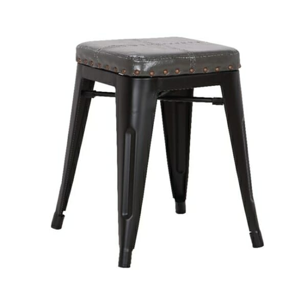 Метална табуретка със седалка от еко кожа Роко - вариант 2