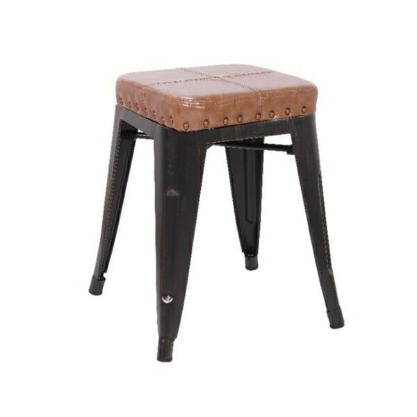 Метална табуретка със седалка от еко кожа Роко - вариант 3