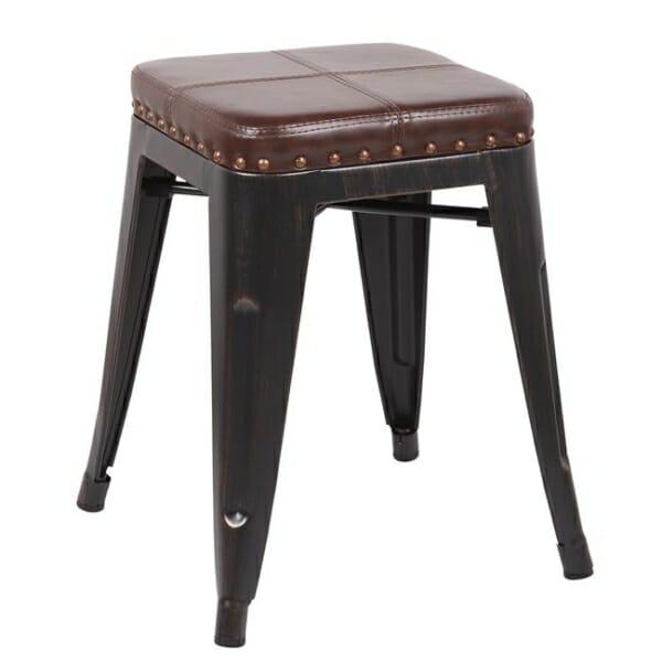 Метална табуретка със седалка от еко кожа Роко - вариант 4