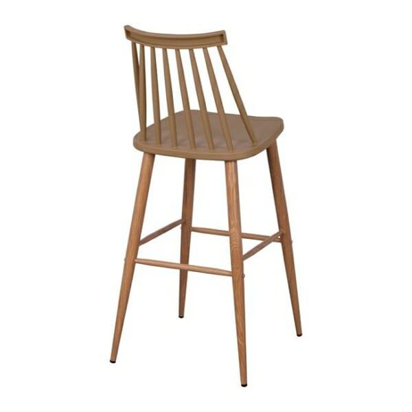 Модерен бар стол с метални крака в капучино отстрани