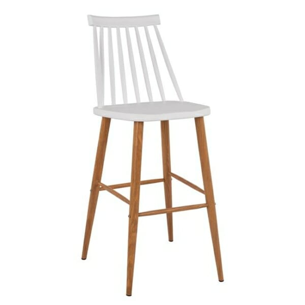 Модерен бар стол с метални крака в бяло