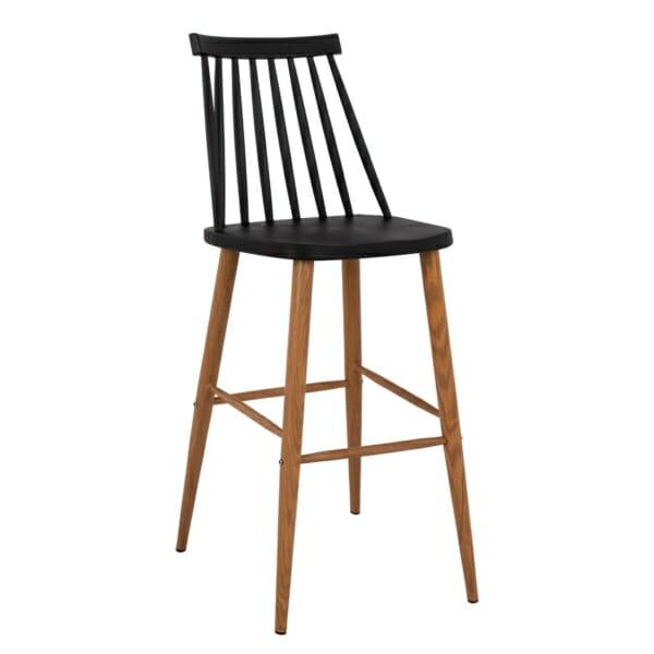 Модерен бар стол с метални крака в черно