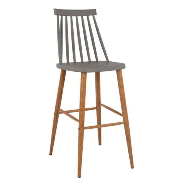 Модерен бар стол с метални крака в сиво