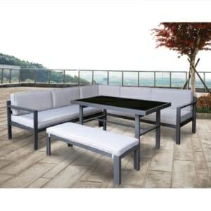 Модерен градински сет с ъглов диван, пейка и маса