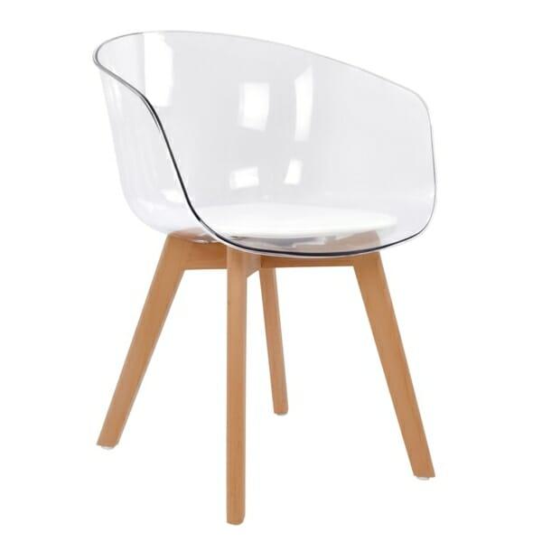 Модерен стол със седалка от прозрачен акрил