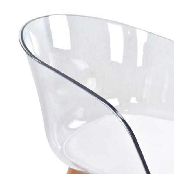 Модерен стол със седалка от прозрачен акрил детайли