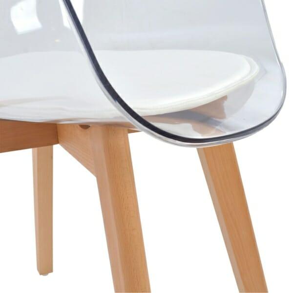 Модерен стол със седалка от прозрачен акрил детайли седалка