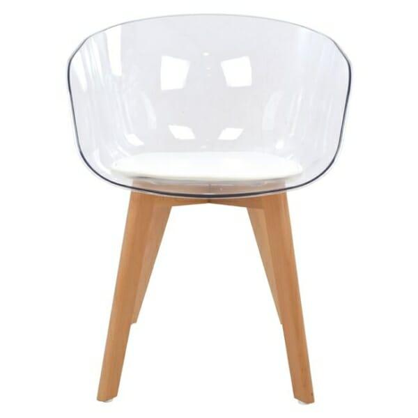 Модерен стол със седалка от прозрачен акрил фронтално