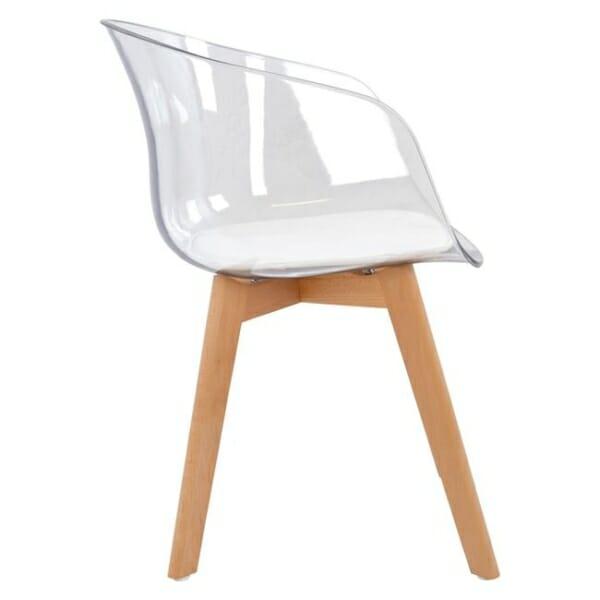 Модерен стол със седалка от прозрачен акрил странично