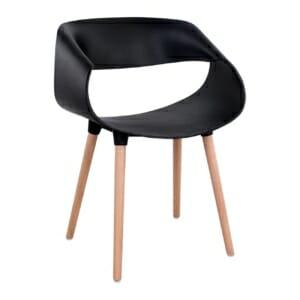 Модерен стол в овална форма за вътрешна и външна употреба в черно