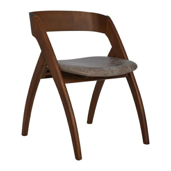 Модерен трапезен стол от дърво и набук