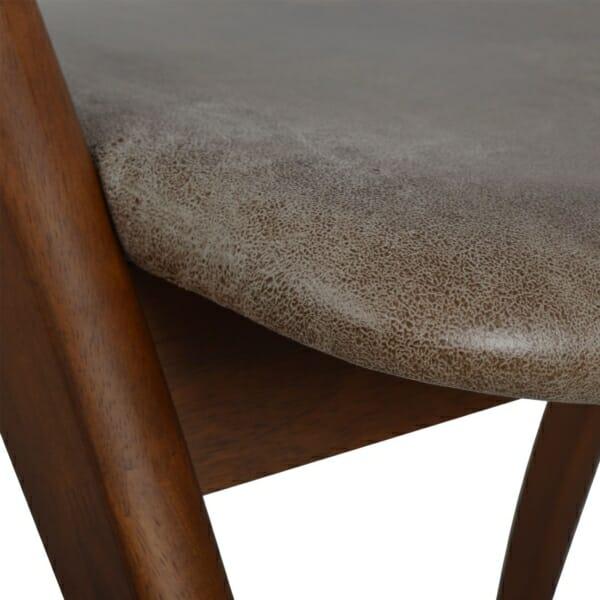 Модерен трапезен стол от дърво и набук-детайли