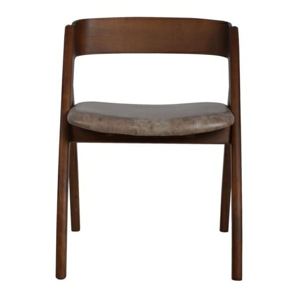 Модерен трапезен стол от дърво и набук отпред