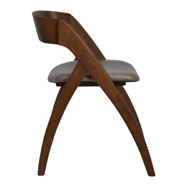 Модерен трапезен стол от дърво и набук странично