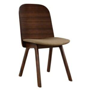 Модерен трапезен стол от дърво в цвят орех