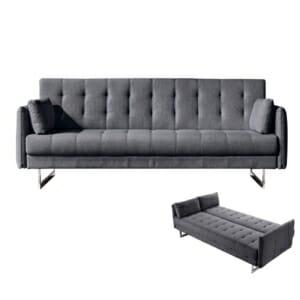Модерен триместен разтегателен диван Руди - цвят антрацит