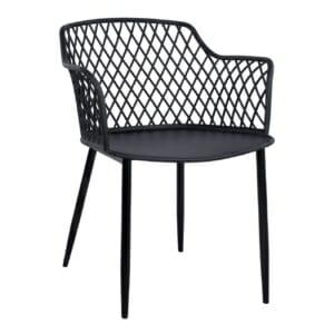 Модерен стол с метални крака и мрежеста облегалка в черно