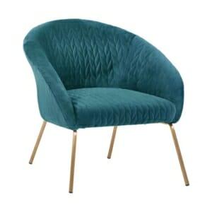 Модерно кресло с метални крака в златисто - тюркоазен цвят