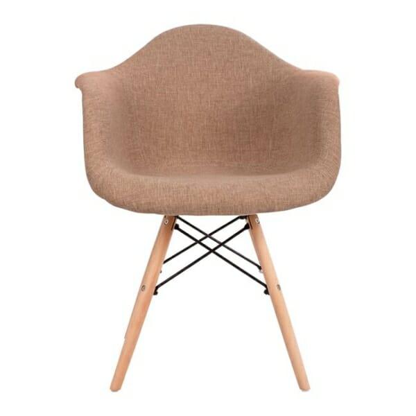 Модерно кресло с букови крака и подлакътници бежово странично