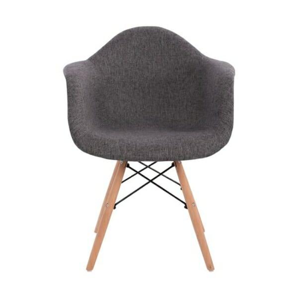 Модерно кресло с букови крака и подлакътници в сиво отпред