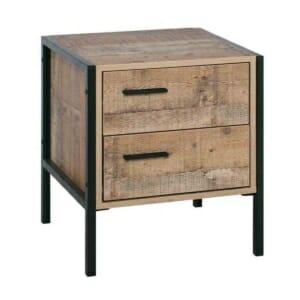 Нощно шкафче с 2 чекмеджета в индустриален стил Пако