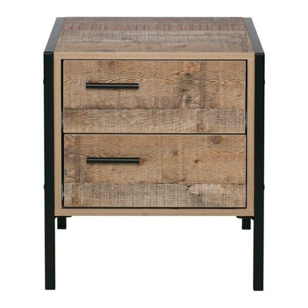 Нощно шкафче с 2 чекмеджета в индустриален стил Пако - размери