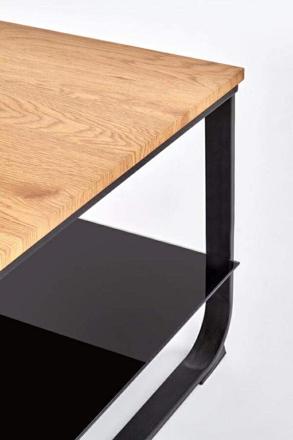 Правоъгълна холна маса с рафт и метална основа - детайл рафт