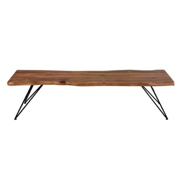 Ръчно изработена пейка от акациево дърво отпред