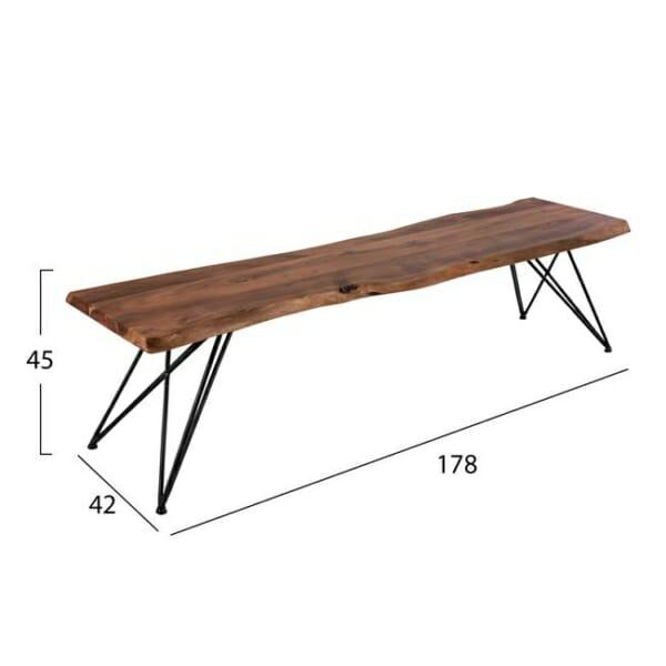 Ръчно изработена пейка от акациево дърво-размери