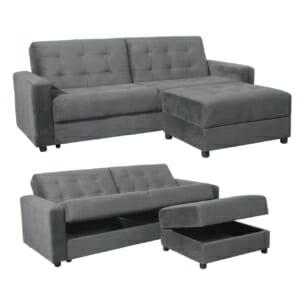 Разтегателен диван с табуретка и място за съхранение - сив цвят