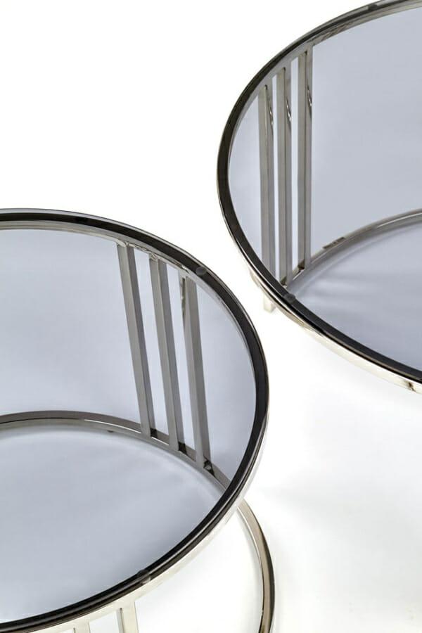 Сет холни маси с опушено стъкло и хромирана основа - детайл