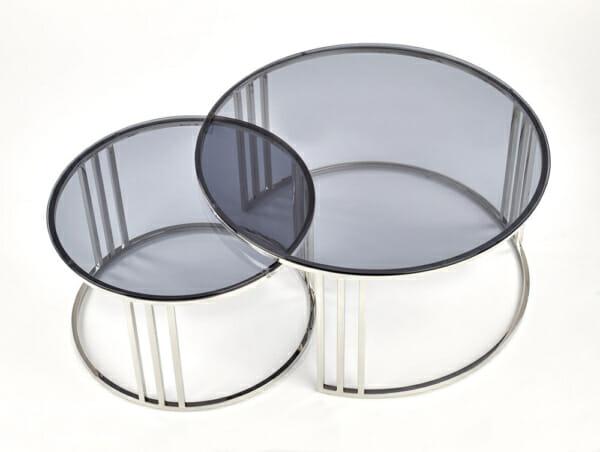 Сет холни маси с опушено стъкло и хромирана основа - изглед отгоре
