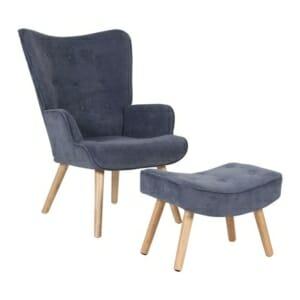 Сет кресло и табуретка от кадифе и дърво Лима - светлосин цвят