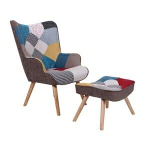 Сет кресло и табуретка с дървена основа в стил пачуърк