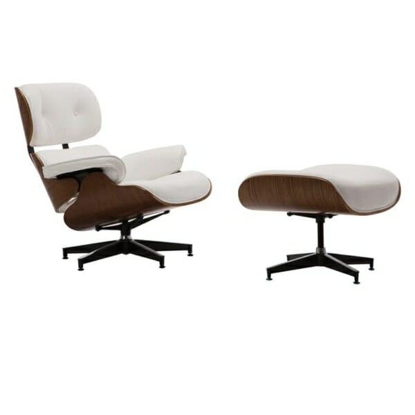 Сет луксозно кресло и табуретка от бяла еко кожа