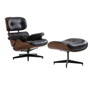 Сет луксозно кресло и табуретка от черна еко кожа