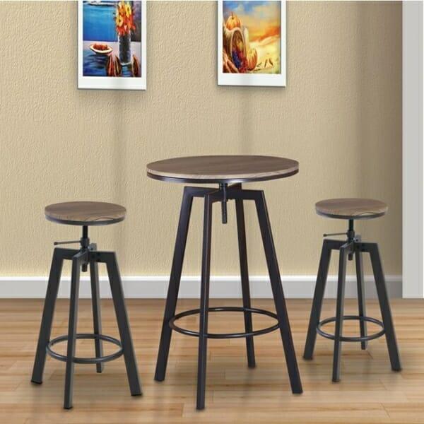 Сет от бар маса и 2 бар стола в индустриален стил серия Рони
