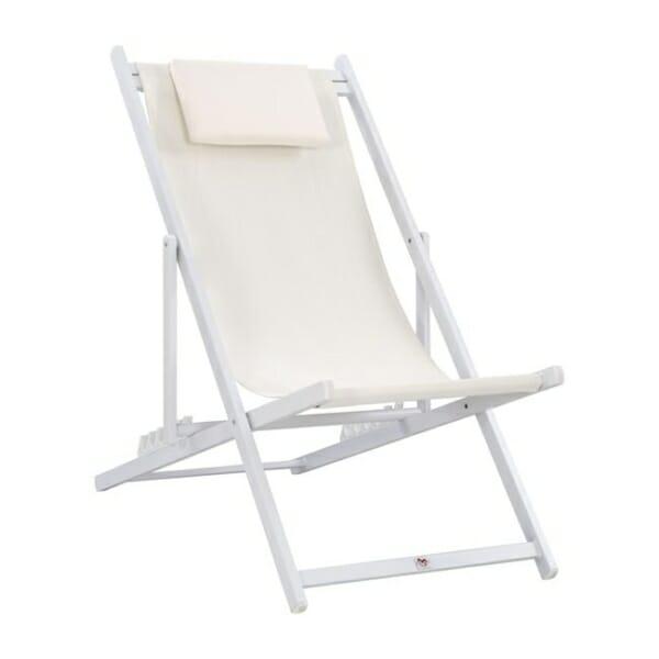 Сгъваем стол шезлонг от алуминий в бяло