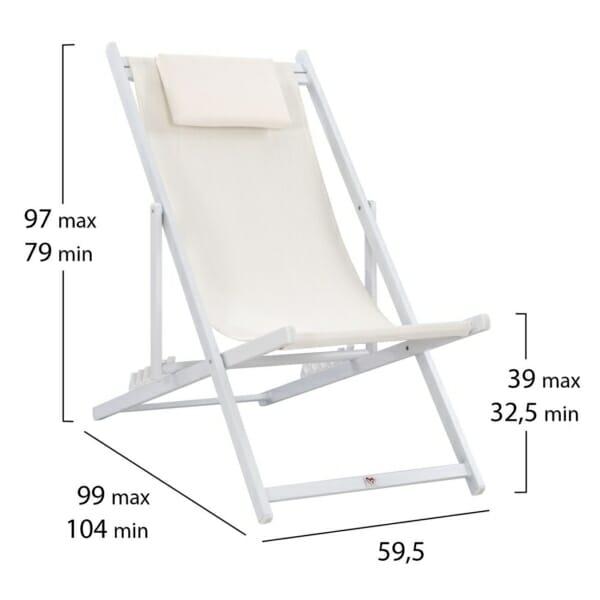 Сгъваем стол шезлонг от алуминий в бяло размери