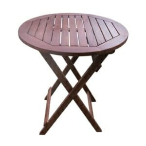 Сгъваема градинска маса от дърво с кръгъл плот - голям размер