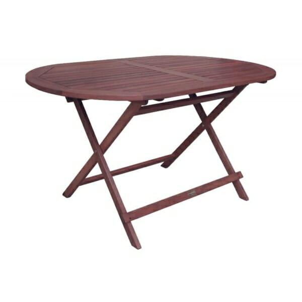 Сгъваема градинска маса от тъмно дърво Роди - овален плот