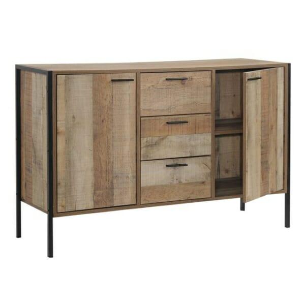 Шкаф с 3 чекмеджета и 2 вратички в индустриален стил Пако