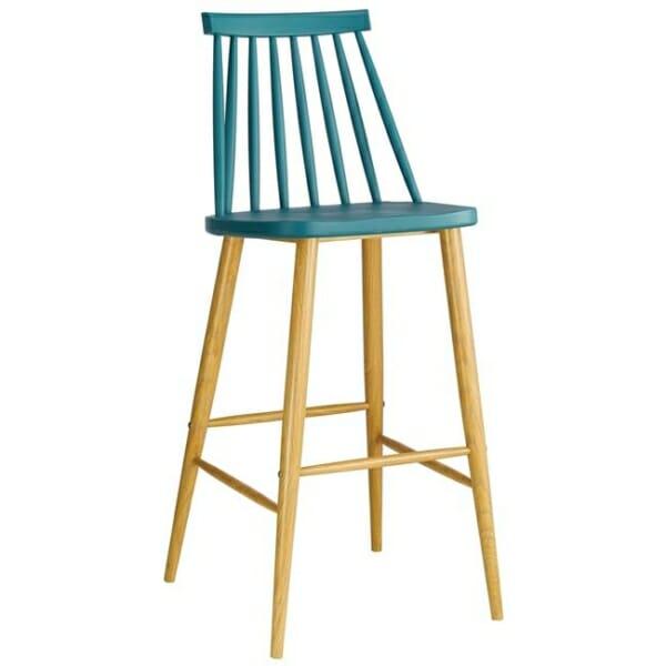 Син бар стол с облегалка и метална основа серия Лола