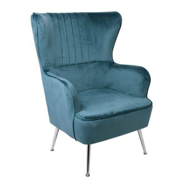 Синьо кадифено кресло с хромирани крачета Мисти
