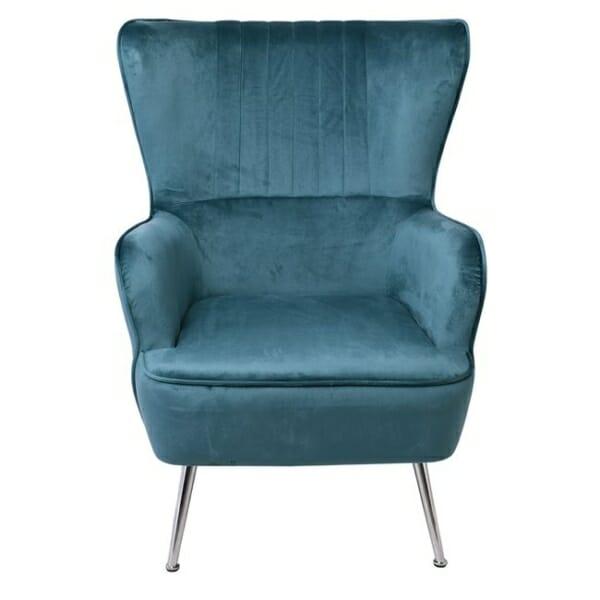 Синьо кадифено кресло с хромирани крачета Мисти - изглед отпред