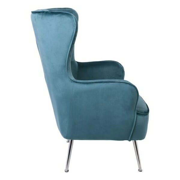 Синьо кадифено кресло с хромирани крачета Мисти - изглед отстрани