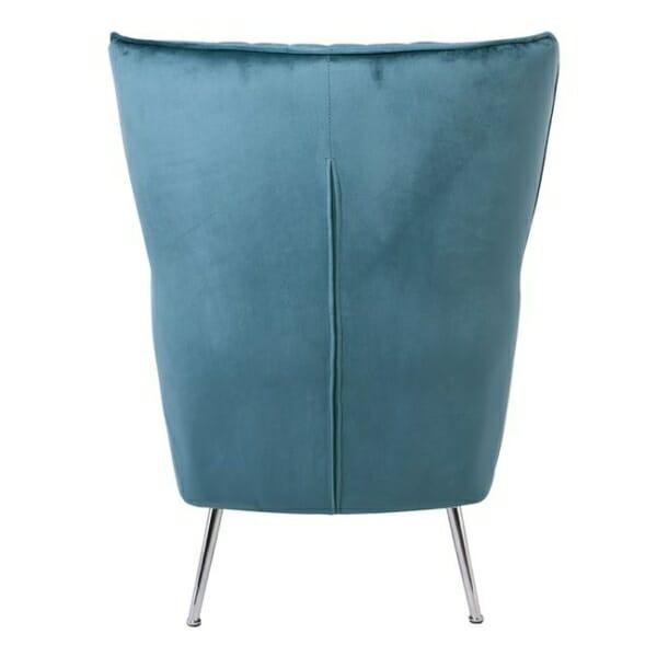 Синьо кадифено кресло с хромирани крачета Мисти - изглед отзад