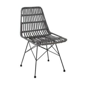 Сив градински стол от синтетичен ратан Дорн