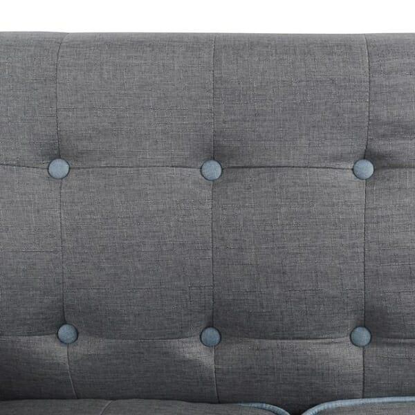 Стилен триместен диван в сив цвят серия Карин детайли